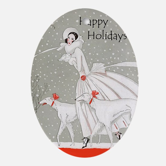 Art Deco Happy Holidays Oval Ornament