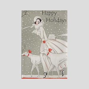 Art Deco Happy Holidays Rectangle Magnet