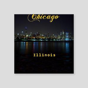 "Chicago_ornament_oval_Skyli Square Sticker 3"" x 3"""