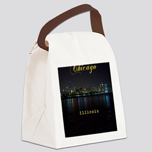 Chicago_ornament_oval_Skyline Canvas Lunch Bag