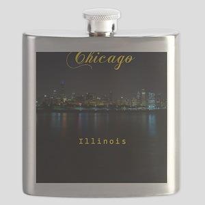 Chicago_ornament_oval_Skyline Flask