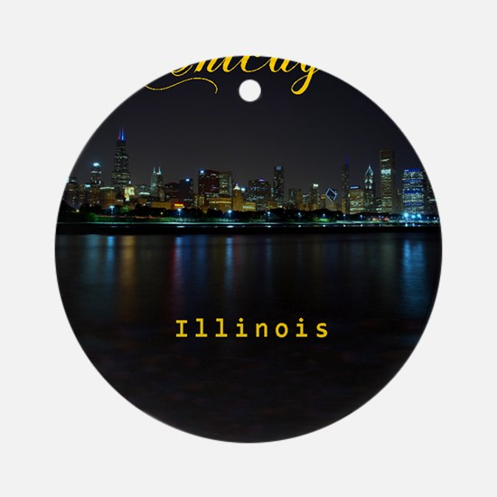 Chicago_ornament_oval_Skyline Round Ornament