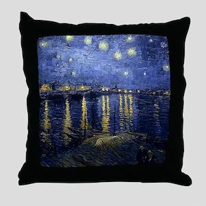 Van Gogh Starry Night Over Rhone Throw Pillow