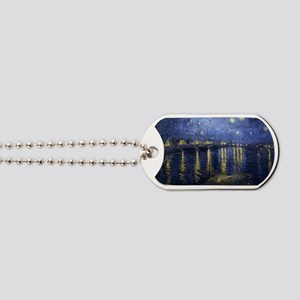 Van Gogh Starry Night Over Rhone Dog Tags