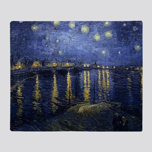 Van Gogh Starry Night Over Rhone Throw Blanket