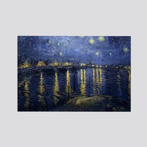 Van Gogh Starry Night Over Rhone Rectangle Magnet