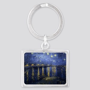 Van Gogh Starry Night Over Rhon Landscape Keychain
