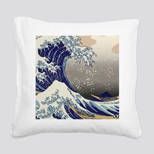 Hokusai The Great Wave off Ka Square Canvas Pillow