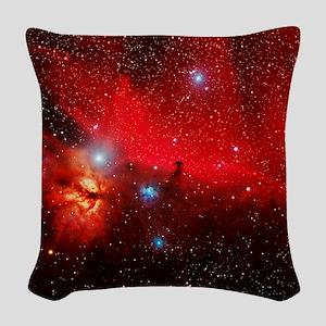 Horsehead and Flame nebulae Woven Throw Pillow