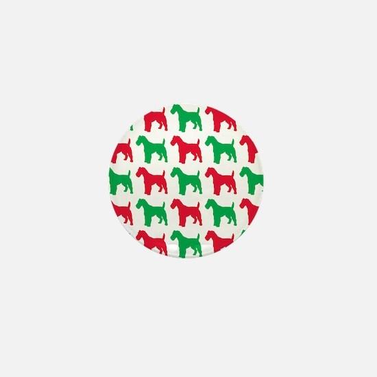 Schnauzer Christmas or Holiday Silhoue Mini Button