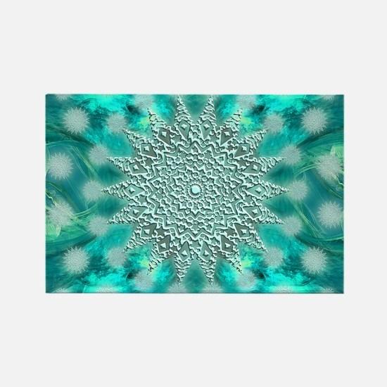 Blue Christmas Snowflake Fractal Rectangle Magnet