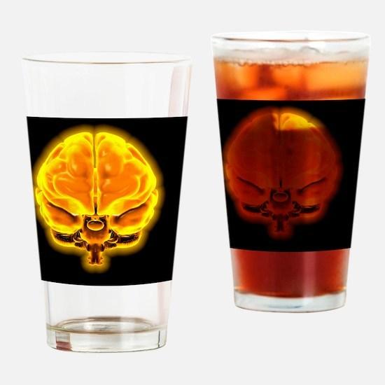 Human brain, computer artwork Drinking Glass