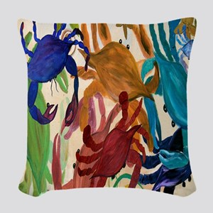 Crab Party Woven Throw Pillow