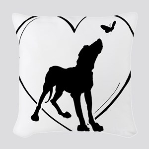Dog  Butterfly Woven Throw Pillow