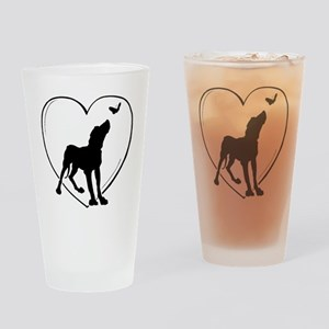 Dog  Butterfly Drinking Glass