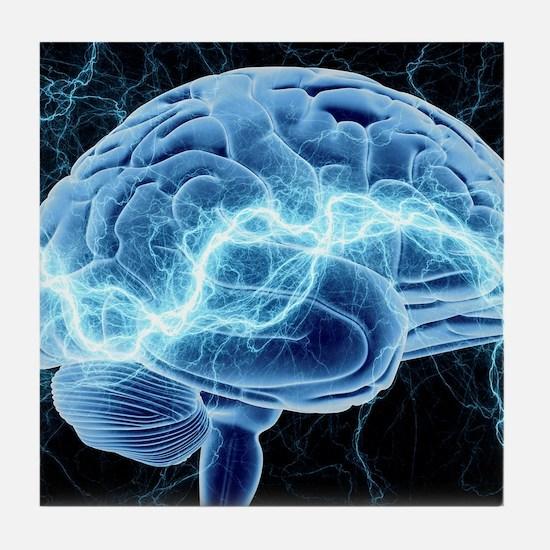 Human brain, conceptual artwork Tile Coaster