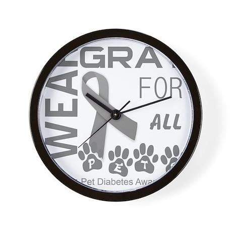 I wear gray for all pets pets diabetes Wall Clock