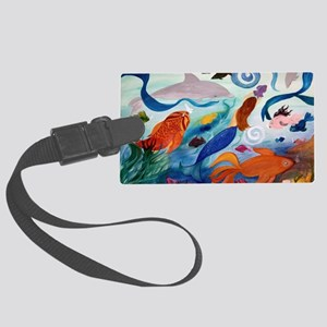 Mermaid  Tropical Fish Party Large Luggage Tag