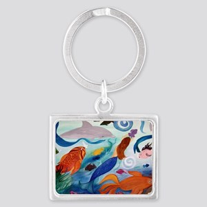 Mermaid  Tropical Fish Party Landscape Keychain