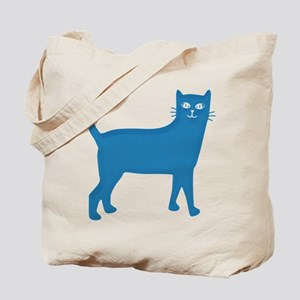 Aqua Blue Cat Tote Bag