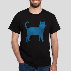 Aqua Blue Cat Dark T-Shirt