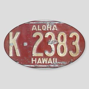 Hawaiian Aloha LIcense Plate Sticker (Oval)