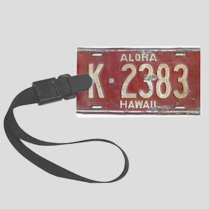 Hawaiian Aloha LIcense Plate Large Luggage Tag