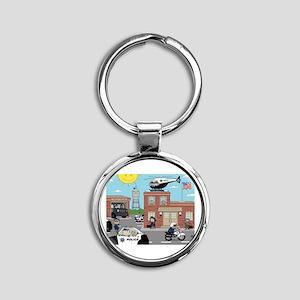 POLICE DEPARTMENT SCENE Round Keychain