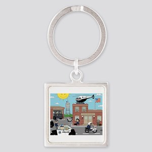 POLICE DEPARTMENT SCENE Square Keychain