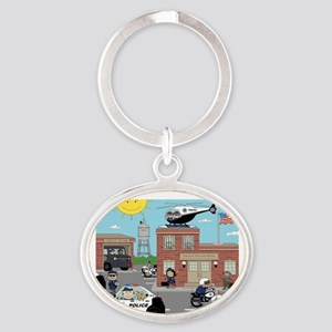 POLICE DEPARTMENT SCENE Oval Keychain