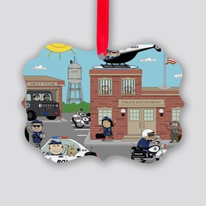 POLICE DEPARTMENT SCENE Picture Ornament