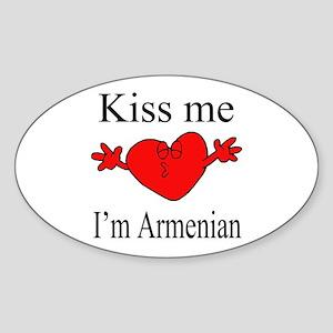Kiss Me I'm Armenian Oval Sticker