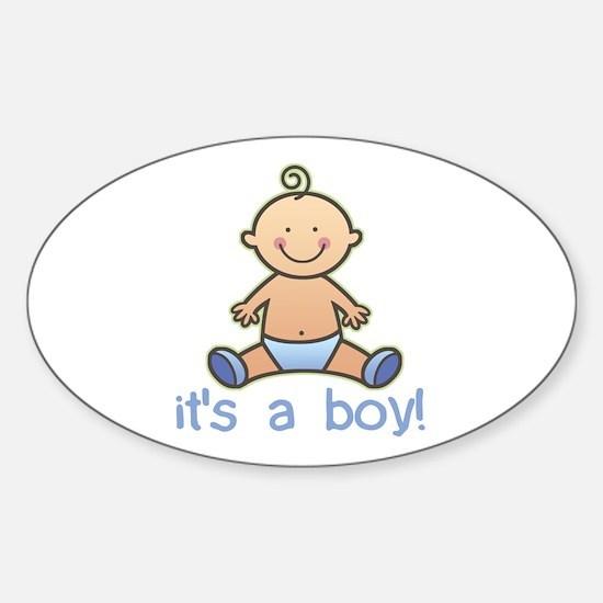 New Baby Boy Cartoon Oval Decal