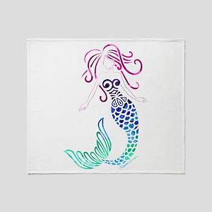 Tribal Mystic Mermaid Throw Blanket