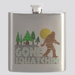 Gone Squatchin Vintage Retro Distressed Flask