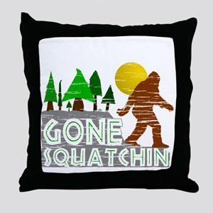 Gone Squatchin Vintage Retro Distress Throw Pillow