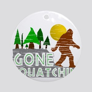Gone Squatchin Vintage Retro Distre Round Ornament