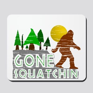 Gone Squatchin Vintage Retro Distressed Mousepad