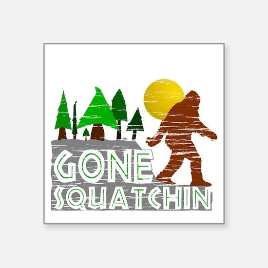 "Gone Squatchin Vintage Retr Square Sticker 3"" x 3"""