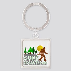 Gone Squatchin Vintage Retro Distr Square Keychain