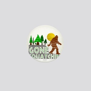 Gone Squatchin Vintage Retro Distresse Mini Button