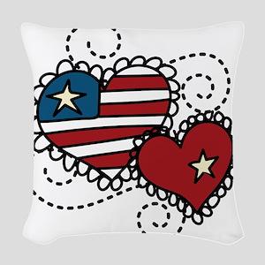 America Hearts Woven Throw Pillow