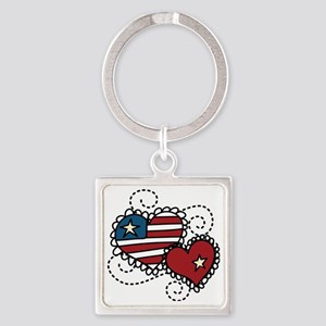 America Hearts Square Keychain