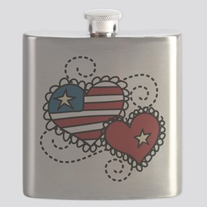 America Hearts Flask