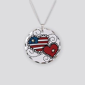 America Hearts Necklace Circle Charm