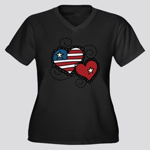 America Hear Women's Plus Size Dark V-Neck T-Shirt