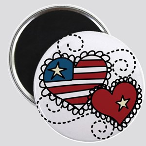 America Hearts Magnet