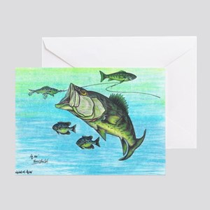 The Big Bass and Bluegill Fishing Or Greeting Card