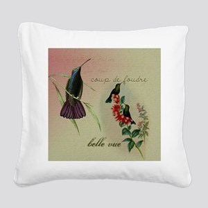 Vintage French Hummingbirds Square Canvas Pillow