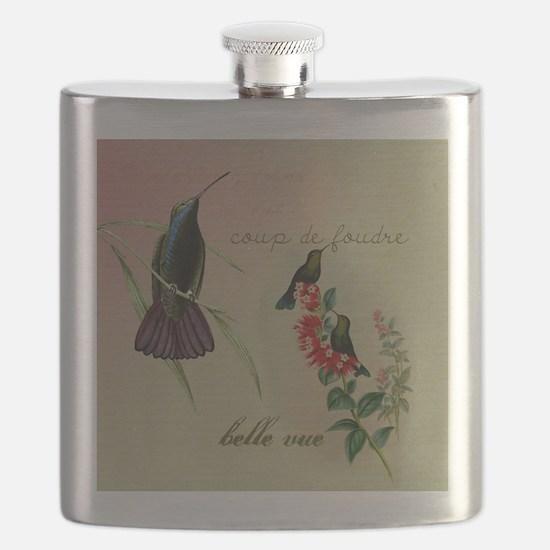 Vintage French Hummingbirds Flask